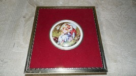 VINTAGE MADE IN WEST GERMANY TIN RED VELVET W/EMBOSSED COURTING COUPLE S... - $24.70