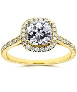 Moissanite and Lab Grown Diamond Halo Engagement Ring 1 1/3 CTW 14k Yell... - $712.28