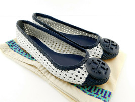 New Tory Burch Size 9 Pasadena Woven Navy White Ballet Flats Shoes - $159.00
