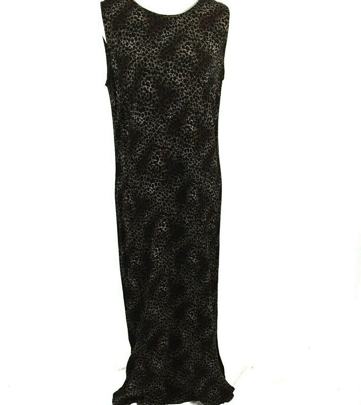 KSL Karin Stevens Sleeveless Maxi Dress and Jacket Size 14W Brown Animal Print image 7
