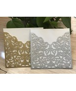 50pcs Pocket Style Glitter Silver Wedding Invitations,Laser Cut Wedding ... - $68.70