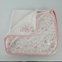 Gymboree 3 Bunny Bunnies Baby Blanket Bums Flowers Lovey Cotton 2016 Pink White - $30.19