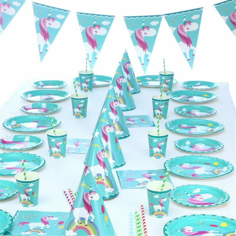 Primary image for Plates Disposable Birthday Party Flamingo Unicorn BabyShower Paper Cup Tableware