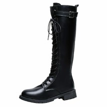 Fashion Belt Buckle Strap Long Boots Winter Lace-up Shoes Women Pure Color Hi... - $24.68+