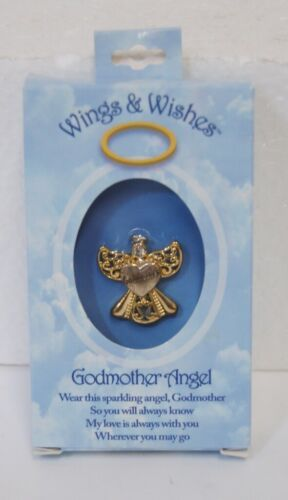 DM Merchandising Wings Wishes Godmother Angel Gold Colored Angel Holding Heart
