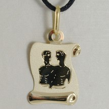 18K YELLOW GOLD ZODIAC SIGN MEDAL, GEMINI, PARCHMENT ENGRAVABLE MADE IN ITALY image 1