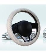 Pearl Velvet Winter Car Beige Steering Wheel Cover Soft Warm Plush Unive... - $6.80
