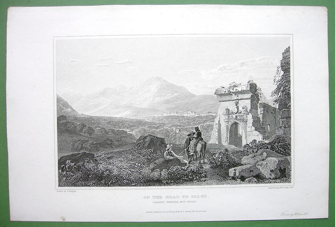 Primary image for SICILY Italy On Road to Palco at Monreale - 1823 Antique Print by Mjr Light