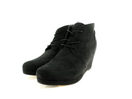 Journee Collection Women's Enter Wedge Bootie, Black Suede, Size 8.5 B(M... - $49.39