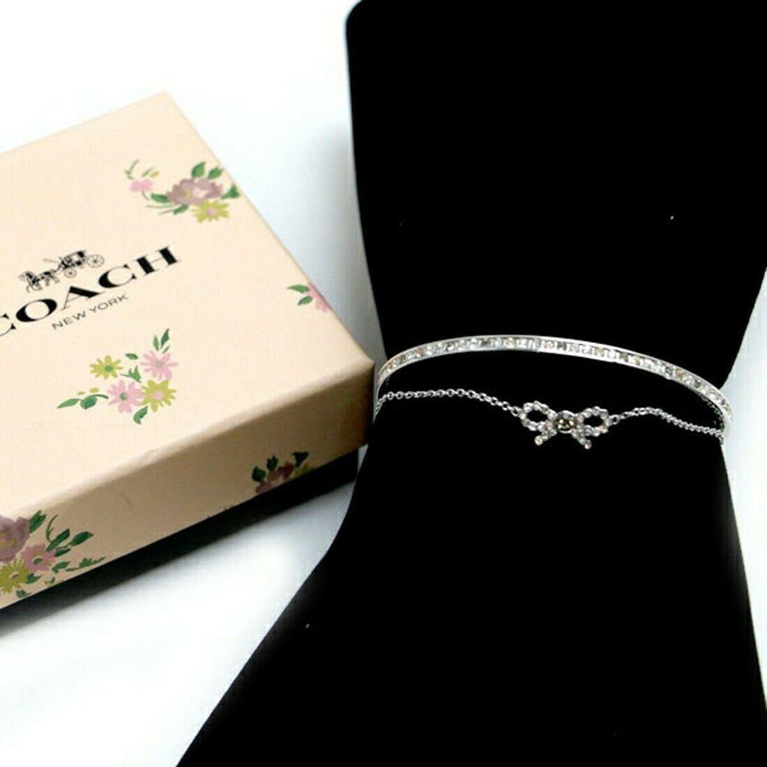 NWT COACH Bow Chain Cuff Stone Embellishment Bangle Cute Bracelet Silver F28866