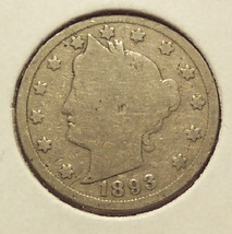 1893 Liberty Head Nickel G4 #1193 - $4.29