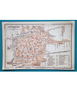 "1905 BAEDEKER MAP - Holland Leeuwarden City  Plan  4"" x 6"" (10 x 15 cm) - $6.75"