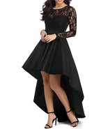 Women's High Low Long Sleeve Black Prom Dress Lace Cocktail Dresses Part... - $116.00