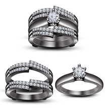 Round Sim Diamond Black Gold FN Wrap Bridal Engagement Ring Set & Free Shipping - $169.57