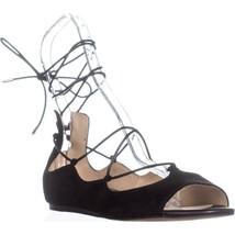 Sam Edelman Barbara Lace Up Ballet Flats , Black Suede - $48.01