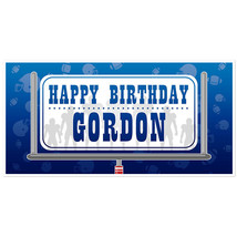 Football Birthday Banner Blue and Silver Personalized Party Backdrop - $23.64