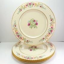 """Lenox Cinderella Dinner Plates Set of 4 Pink Floral V-308 Old 10-7/8"""" Exc-Fair - $46.93"""