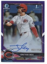 2018 Bowman Draft Chrome Autographs Refractors Purple Jonathan India RC ... - $179.99