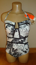 New $86 Leilani Women's 1 Piece Swimsuit Antigua Black and White Tropical Sz 10 image 1