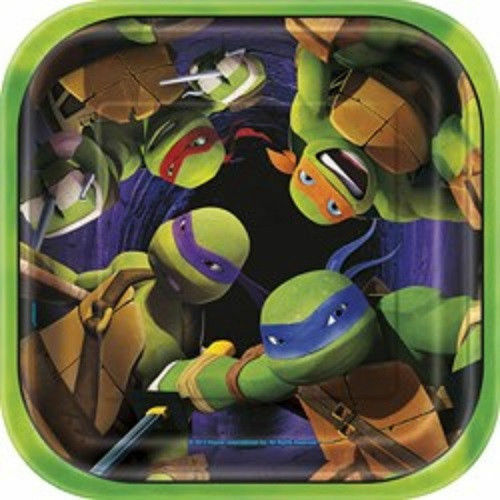 "Teenage Mutant Ninja Turtles 7"" Square Dessert Cake Plates 8 ct TMNT"