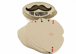 The Gambler Playing Cards deck vtg moustache shape set case Kenny Rogers... - $19.25
