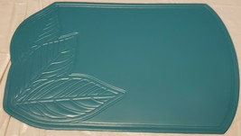 "Set of 2 PVC NON CLEAR Oval Placemats (18""x12"") ENGRAVED LEAVES ON BLUE/... - $9.89"
