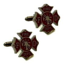 Fireman Shield Cufflinks Firefighter Fire Department W Gift Bag Groom Wedding - $9.95