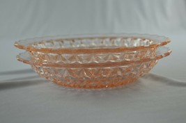 """2 Jeannette Glass Holiday (Button & Bows) Pink Soup Bowls 1947-1949 7 3/4""""  - $29.70"""
