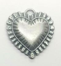 Longaberger Pewter Sweet Heart Basket Tie On Charm Pendant  - $9.65