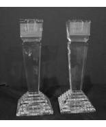 Pair Lenox Ovations Pillar Monument Candleholders Candlesticks Lead Crystal - $60.99