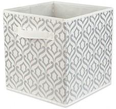 Storage Bin Metallic Silver Home Basics Damask Patterned Chic Look Shelv... - $12.75