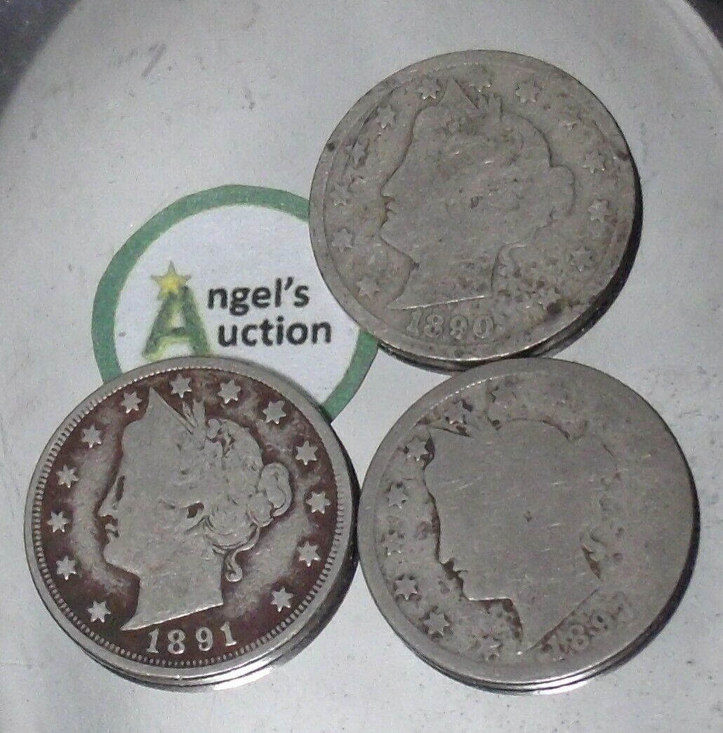 Liberty Head Nickel Five-Cent V Pieces 1890, 1891 and 1897 AA20-CNN2149 Antique