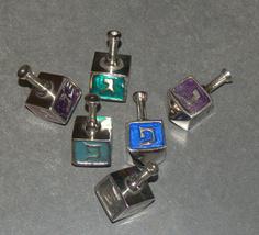 Lot of 6 Aluminum Enamel Dreidel Sevivon Hanukkah Judaica  image 2