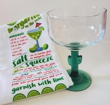 Margarita Glass and Kitchen Towel, Green Cactus Stem 16oz Drinks Recipe Gift