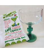 Margarita Glass and Kitchen Towel, Green Cactus Stem 16oz Drinks Recipe ... - $12.99