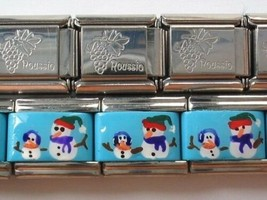 Hand Painted Snowman Family 9mm Classic Size Italian Charms  Stainless Steel - $5.74