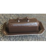 INDEPENDENCE IRONSTONE  INTERPACE Covered Butter Dish Japan Brown - $11.45