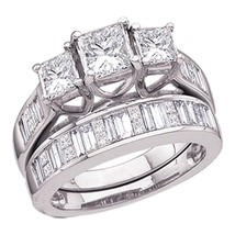 14k White Gold Princess Diamond 3-Stone Bridal Wedding Engagement Ring Set - $4,097.26