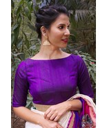 Purple raw silk boat neck blouse | Ready made Indian Saree Blouse - $35.99
