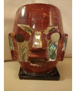 Aztec Mayan Mother Of Pearl Abalone Face Mask Glazed Sculpture Burial Be... - $49.45