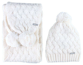 Bench Womens Seedpearl Acrylic Kuddle Bobble Beanie Winter Hat & Scarf Set NWT