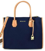 AUTHENTIC NEW NWT MICHAEL KORS $278 MERCER LARGE BLUE BROWN TOTE CROSSBO... - $138.00