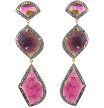 14 K Gold 3ct Diamond Carved Tourmaline Long Dangle Earrings .925 Silver Jewelry - $1,711.90