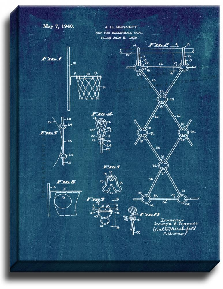Primary image for Net for Basketball Goal Patent Print Midnight Blue on Canvas