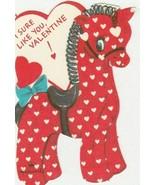 Vintage Valentine Card Giraffe Red Polka Dots Hallmark Die Cut - $5.93