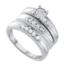 10k White Gold His & Her Round Diamond Cluster Matching Bridal Wedding Ring Set - $699.00