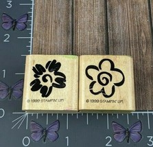 Stampin' Up! Two Flowers Swirl Center Rubber Stamps 1999 Lot of 2 Wood #... - $2.23