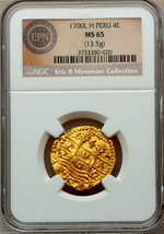 "Peru 4 Escudos 1700 ""Eric P Newman"" Ngc 65 Finest Of 3 Known! Gold Doubloon Coin - $85,000.00"