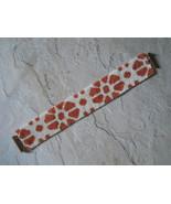 Bracelet: Papaya & White Ikat Flowers Motif, Peyote Stitch, Tube Clasp - $39.00
