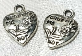 FORGET ME NOT HEART W/ FLOWERS FINE PEWTER PENDANT CHARM - 12.5x18x3mm image 1